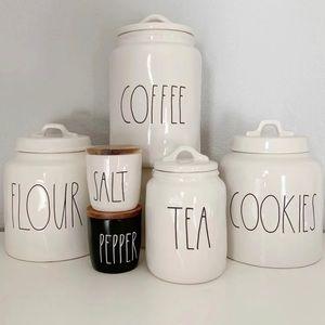 RAE DUNN CANISTER SET COOKIES TEA FLOUR COFFEE